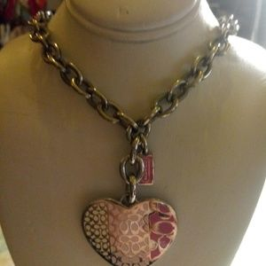 COACH Signature Silver & Pink Necklace
